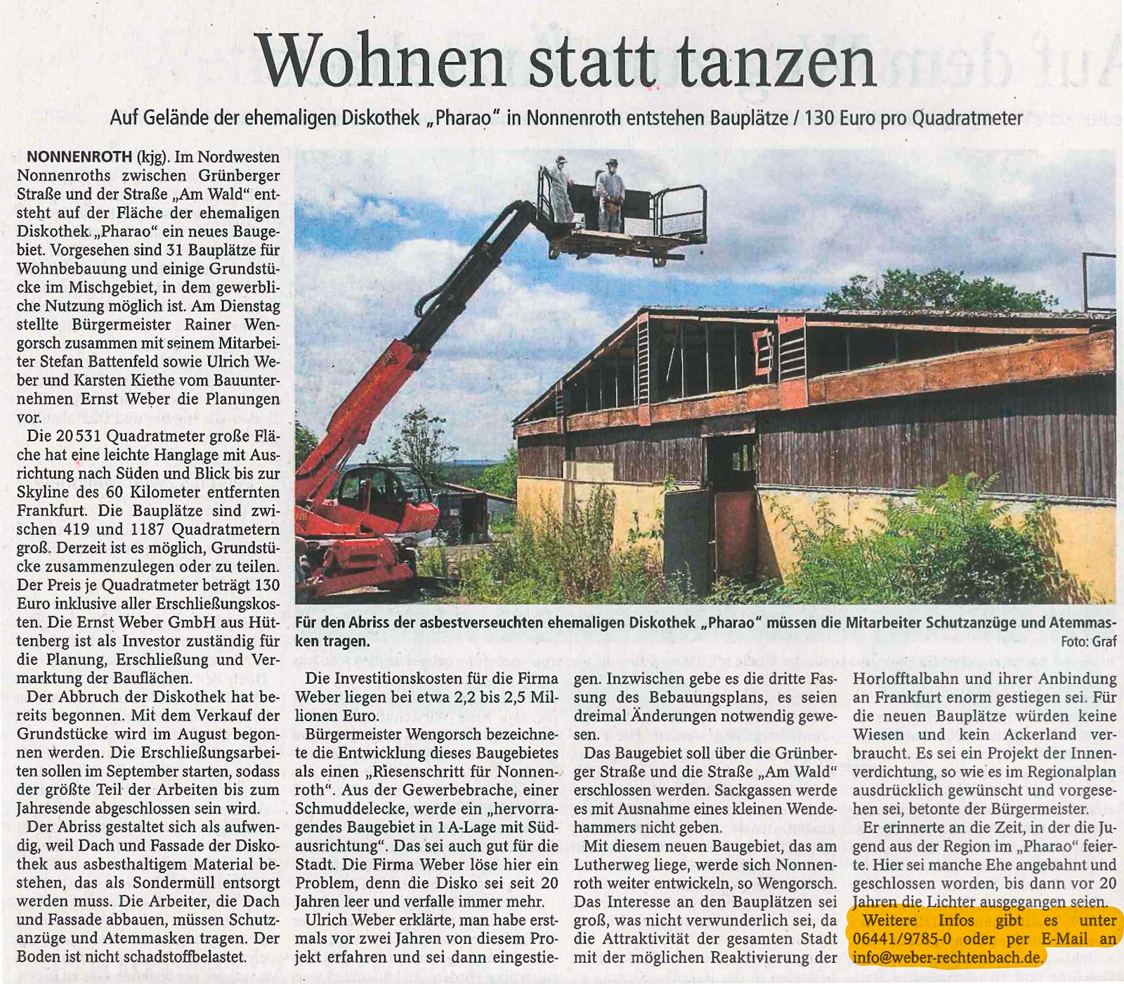 PR-Beitrag zur Errichtung des Baugebietes in Nonnenroth